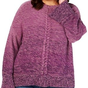 Style & Co Purple Braided Knit Pullover Sweater